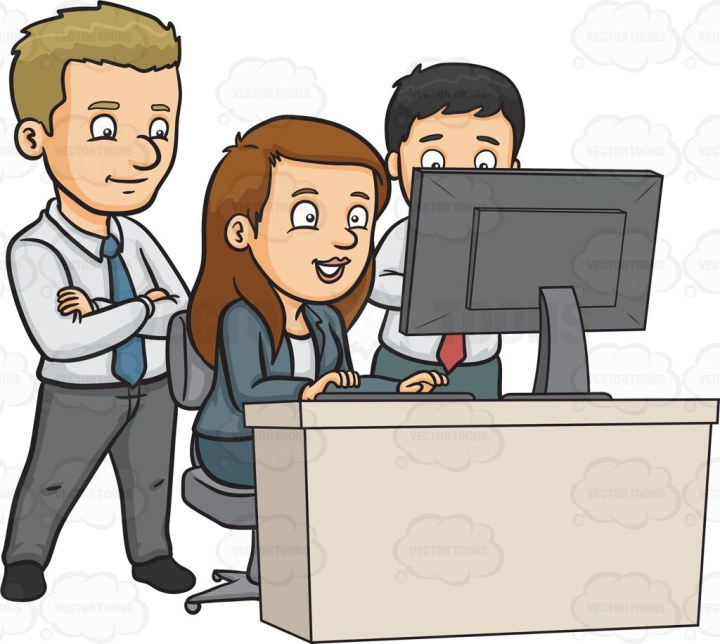 A team of workers at the office